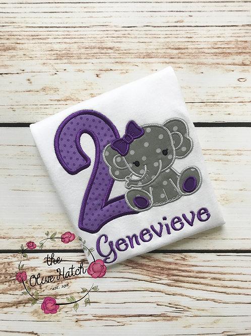 Elephant Birthday Shirt Applique