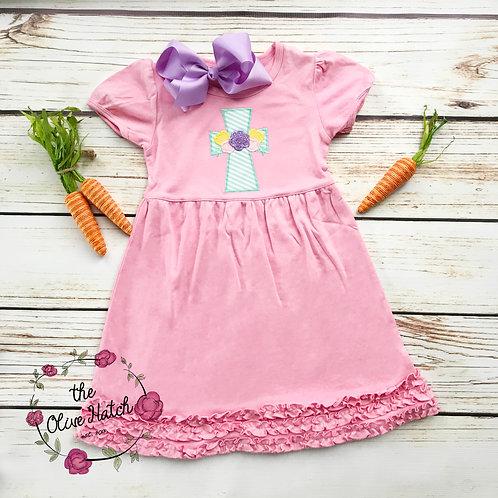 Dress/ Spring Cross ZigZag Applique