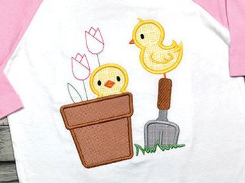 Spring Chicks Applique Design