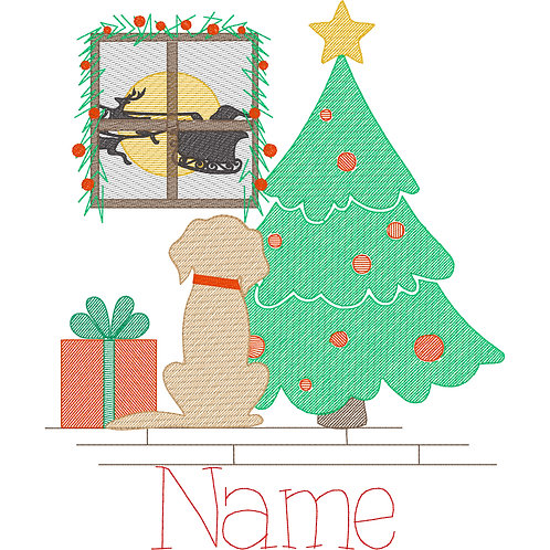 Christmas Puppy Sketch