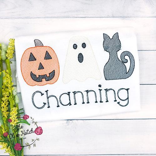 Halloween Trio Sketch Design-- Embroidery