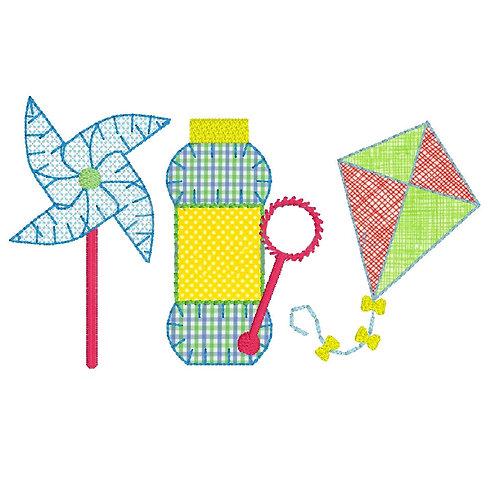 Bubble and Kite Applique Trio