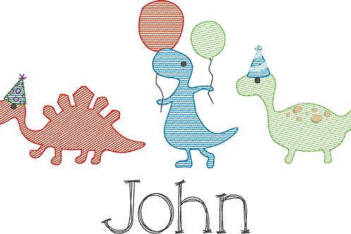 Dinosaur Birthday Sketch Design -- Embroidery