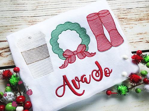 Christmas Trio Sketch Design -- Applique