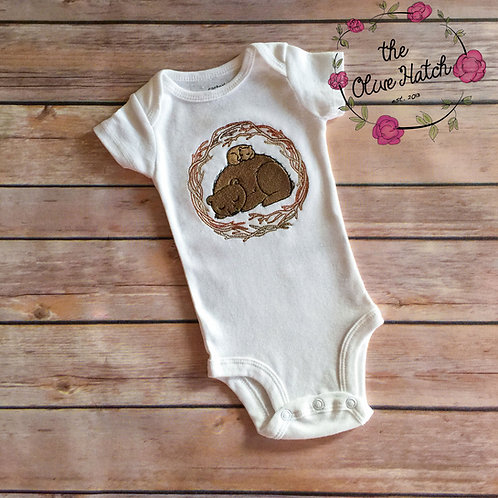 Mama Bear and Cub Embroidery OnePiece
