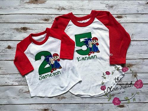 Sonick and Mario Birthday Shirt