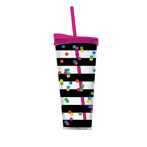 Confetti and Stripes Double Wall Tumbler