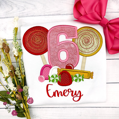 Candy Sweets Birthday Applique Shirt