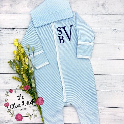 Blue Baby Monogrammed Footie
