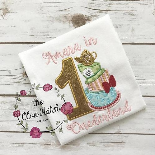 Tea Time Birthday Design -- Applique