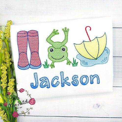 Rain Boots and Frog Sketch Embroidery
