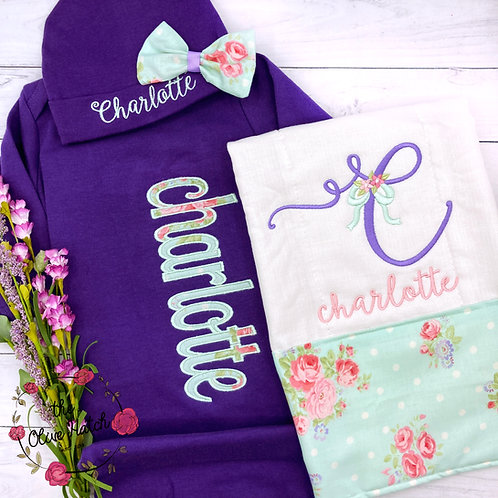 Mint and Purple Baby Gown