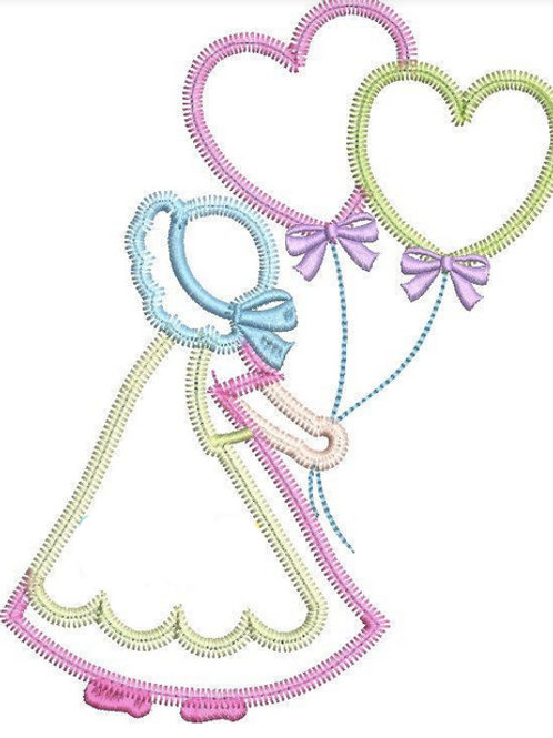Little Girl with Heart Balloons Applique Design