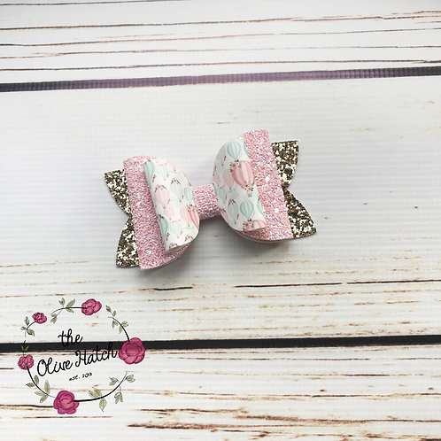 Hot Air Balloon Glitter Bow Double Stack