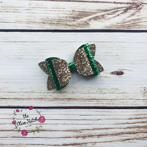 Lucky Glitter Bow - Olive Double Stack