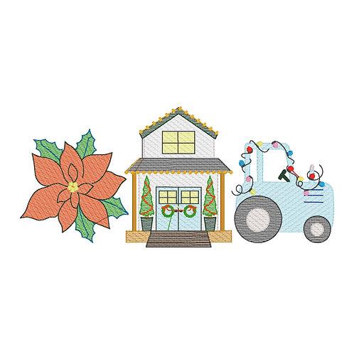 Farmhouse Christmas Sketch Design Shirt