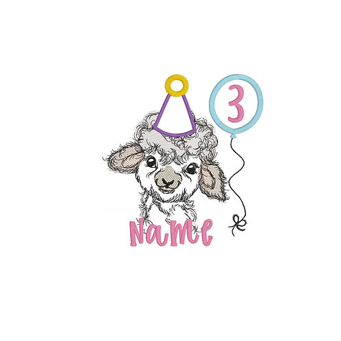 Sheep (Girl) Birthday Embroidery Design Shirt