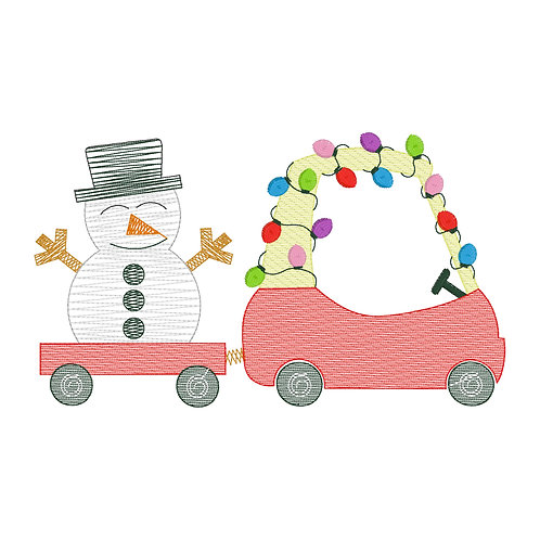 Christmas Coupe with Snowman Sketch