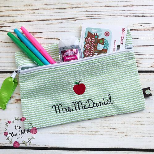 Seersucker Pencil Bag- Makeup Bag--Green