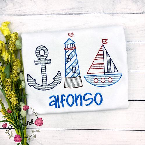 Nautical Trio Sketch Embroidery
