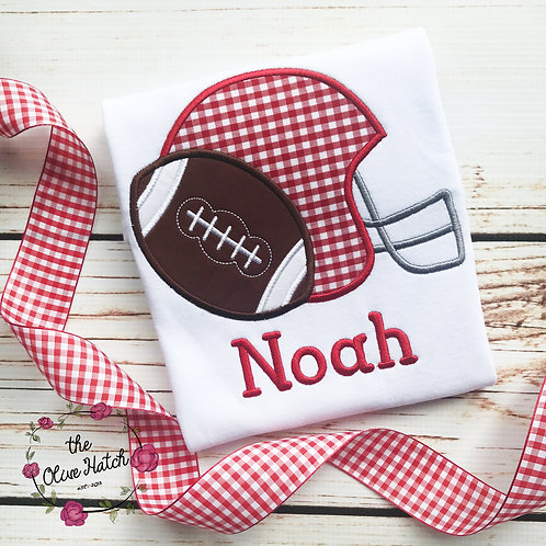 Red and White Football -- Applique