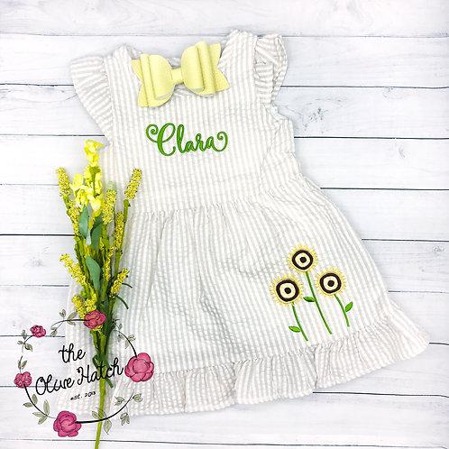 Dandelion Seersucker Monogrammed Dress
