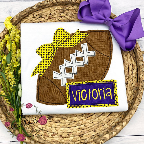 Gold/Yellow and Purple Football Shirt -- Applique