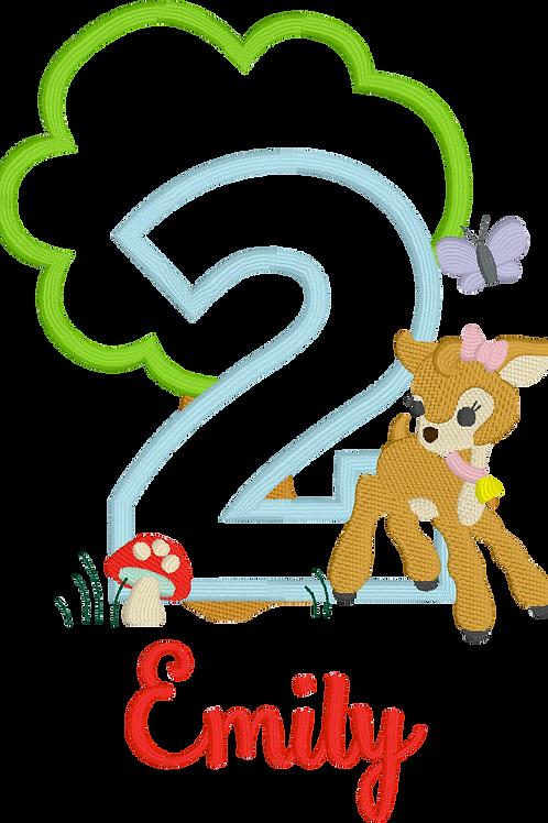 Deer Birthday Applique Design