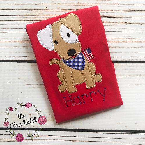 Patriotic Puppy ZigZag Stitch -- Applique