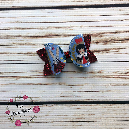 Queen of Hearts and Rabbit Glitter Bow - Ollie Single Stack