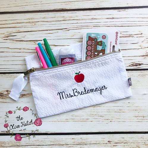 Seersucker Pencil Bag- Makeup Bag--Aqua