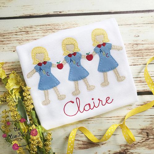 School Girls Blanket Stitch Design-- Applique