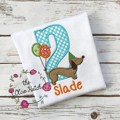 Dachshund Birthday Shirt -- Dog -- Applique
