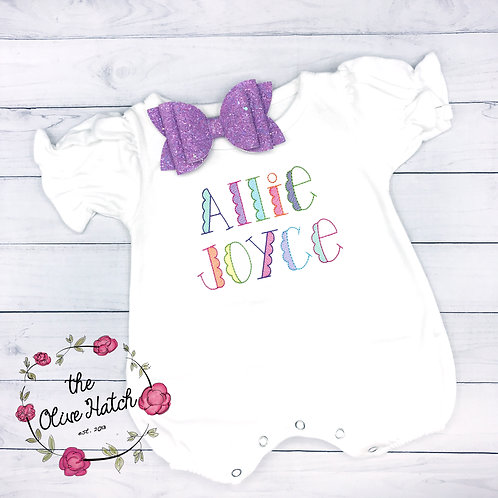 Scalloped Name Romper-- Embroidery