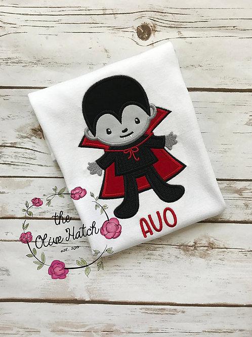 Dracula Halloween Shirt -- Applique