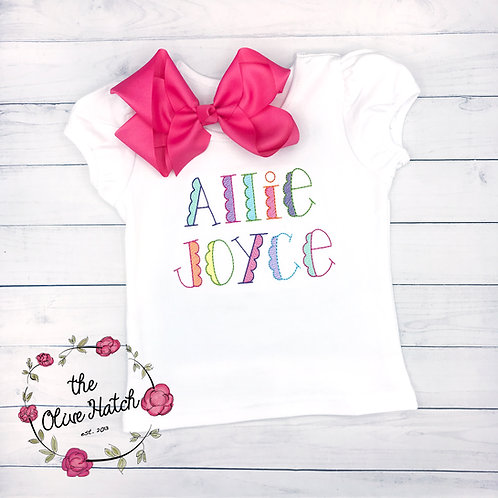 Scalloped Name Embroidery