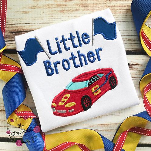 Race Car Little Brother Applique Shirt
