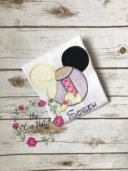Repunzel Princess Mouse Ears -- Applique