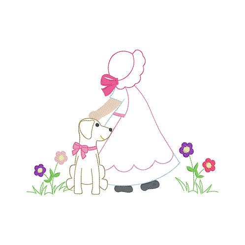 Girl and Dog Applique Design Shirt
