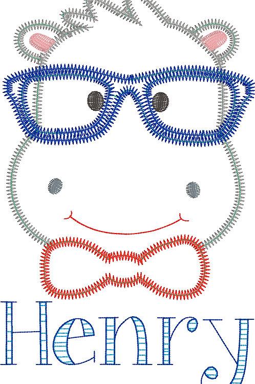 Hippo Zig Zag Applique Design