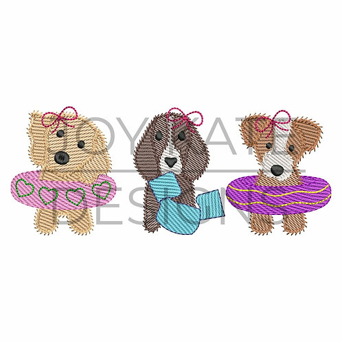 Pool Puppies Embroidery Design Shirt