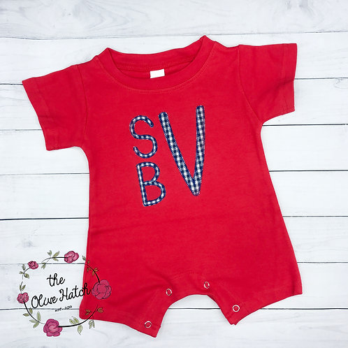 Monogram Romper-- Applique