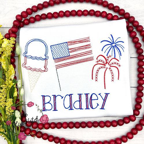 Patriotic Trio Sketch Embroidery