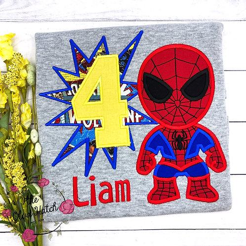 Spider Boy Super Hero Birthday Applique