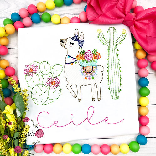 Llama Cactus Shirt -- Sketch Embroidery