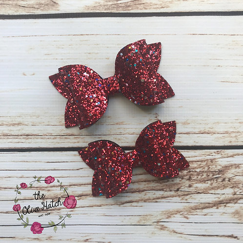 Valentine Red Glitter Bow - Olive Double Stack