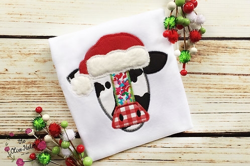 Christmas Cow Zig Zag Applique