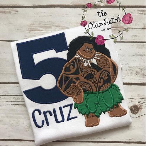 Maui Birthday Shirt -- Applique