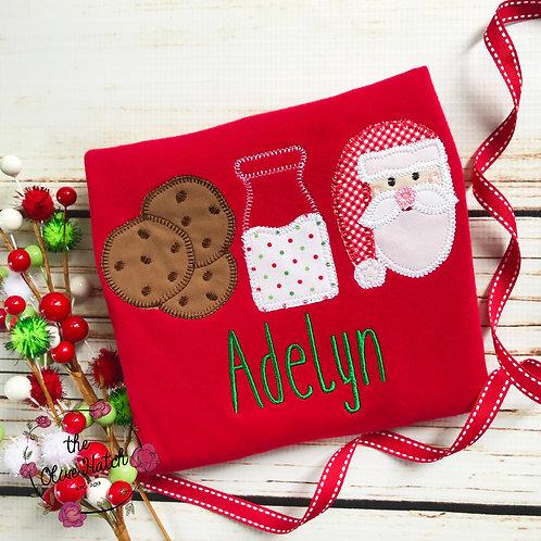 Santa and Cookies Blanket Stitch Design-- Applique