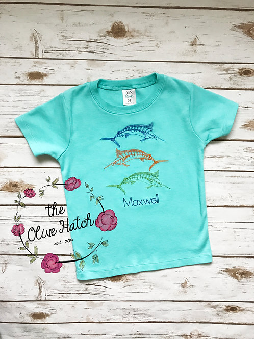 Sword Fish Embroidery Shirt